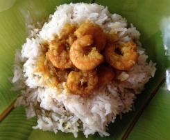 Crevettes sauce curry My